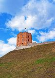 Gediminas Tower on hill in old town center Vilnius. Gediminas Tower on the hill in the old town center, Vilnius, Lithuania stock images