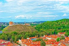 Gediminas Tower on the hill and roof tops of Vilnius. Gediminas Tower on the hill and roof tops of the old town center of Vilnius, Lithuania stock photos
