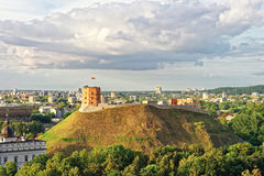 Gediminas Tower on the hill in Vilnius in Lithuania. Gediminas Tower is also called as Upper Castle. Lithuania is a Baltic country in Eastern Europe stock image
