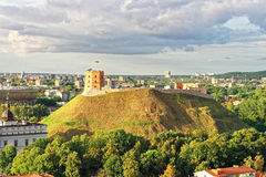 Gediminas Tower on the hill in Vilnius of Lithuania. Gediminas Tower is also called as Upper Castle. Lithuania is a Baltic country in Eastern Europe stock photo