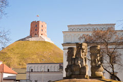 Gediminas Tower and stone heads in Vilnius, Lithuania Stock Photography