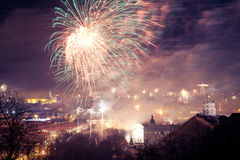 Gediminas' Towerand view of Vilnius, Lithuania, fireworks. Gediminas' Tower of the Upper Castle in Vilnius, Lithuania (1409), fireworks and illumination royalty free stock photos
