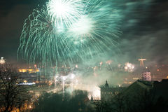 Gediminas' Towerand view of Vilnius, Lithuania, fireworks. Gediminas' Tower of the Upper Castle in Vilnius, Lithuania (1409), fireworks and illumination stock image