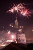 Gediminas' Towerand view of Vilnius, Lithuania, fireworks Stock Images