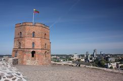 Gediminas wierza na Grodowym wzgórzu w Vilnius Obraz Royalty Free