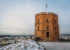 Gediminas ` wierza w Górnym kasztelu w Vilnius zdjęcia royalty free