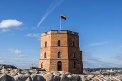 Gedimino塔在维尔纽斯,立陶宛 历史的标志的 图库摄影
