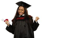 Gediplomeerd Afrikaans-Amerikaans studentenmeisje stock afbeeldingen