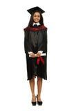 Gediplomeerd Afrikaans-Amerikaans studentenmeisje stock afbeelding