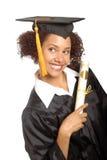 Gediplomeerde met haar diploma Stock Afbeeldingen