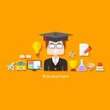 Gediplomeerde met Onderwijspictogram Stock Foto