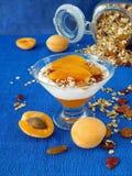 Gedoseerd gelaagd yoghurtdessert stock afbeeldingen