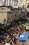 Gedrängte, beschäftigte Szene am Markt auf Viet Nam Tet (neues Mondjahr) Lizenzfreies Stockfoto