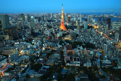 Gedrängte Stadt, Tokyo, Japan Lizenzfreie Stockfotos