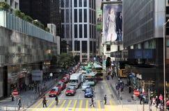 Gedrängte Straße in Hong Kong Stockbild