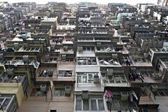 Gedrängte Wohnungen in Hong Kong Stockfotos