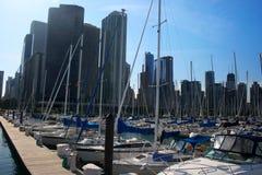 Gedrängter Chicago-Hafen Stockfotos