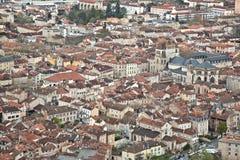 Gedrängtes Stadtzentrum von Cahors Frankreich Stockfotografie