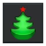 Gedrückt, Knopf mit Anzeigelampe als grüner Baum des neuen Jahres mit rotem Stern beleuchtend Stockbild