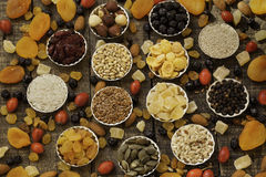 Gedroogd fruit en korrels Royalty-vrije Stock Foto's