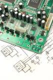 Gedrucktes Leiterplatte und elektronischer Entwurf Stockfotografie