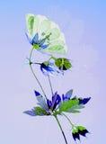 Gedrukt bloem en blad royalty-vrije stock afbeelding