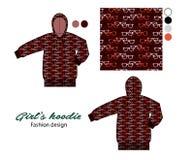 Gedrukt hoodie voor meisjes in wayfarer zonnebrilkunstwerk Stock Fotografie