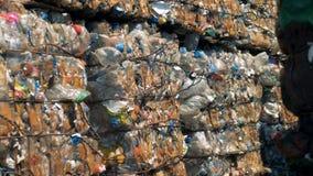 Gedrukte die draagstoelblokken uit gebruikt plastiek worden samengesteld Veel meer ecologiebeelden in mijn portefeuille stock video