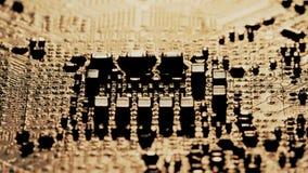 Gedrukte PCB van de kringsraad van een elektronisch apparaat, macroschot stock foto