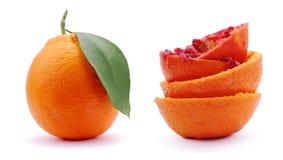 Gedrukte sinaasappel en sinaasappel Twee Royalty-vrije Stock Fotografie