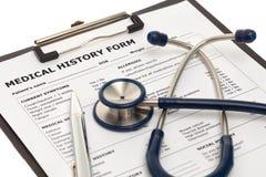 Geduldig medische geschiedenisdocument Royalty-vrije Stock Afbeeldingen