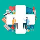 Geduldig overleg aan de arts Gezondheidszorgconcept, Medisch team Gezonde Toepassing Vlakke vectorillustratie vector illustratie