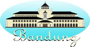 Gedung Sate Bandung. Gedung Sate, has a characteristic in the form of a skewer ornament on the middle tower, sate building became an icon of Bandung city of West Stock Photography
