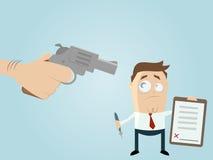 Gedwongen zakenman met een contract Stock Afbeelding