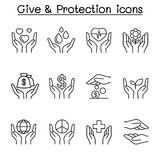 Geef, Bescherming, Schenking, Liefdadigheidspictogram in dunne lijnstijl die wordt geplaatst vector illustratie
