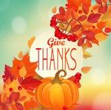 Geef dank - de herfstachtergrond met pompoen royalty-vrije illustratie