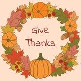 Geef dank hand-drawn vectorillustratie Stock Foto