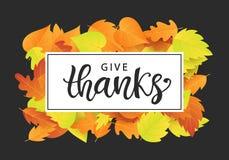 Geef dank Het malplaatje van de thanksgiving dayaffiche vector illustratie