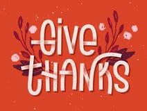 Geef dank het van letters voorzien Letterzetsel geïnspireerde groetkaart vector illustratie