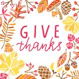 Geef Dank het vector van letters voorzien De illustratie van de dankzeggingskaart stock illustratie