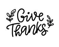 Geef Dank, op wit wordt geïsoleerd dat Thanksgiving day het Van letters voorzien stock illustratie