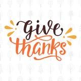 Geef dank Thanksgiving day het Van letters voorzien royalty-vrije illustratie