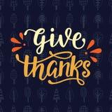 Geef dank Thanksgiving dayaffiche vector illustratie