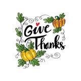 Geef Dank! Thanksgiving dayaffiche Hand het geschreven van letters voorzien stock illustratie