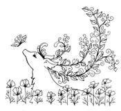 Geef de contouren aan van een fabelachtig hert Stock Foto