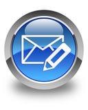 Geef e-mailpictogram glanzende blauwe ronde knoop uit Royalty-vrije Stock Foto's