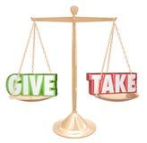 Geef en neem Gouden Schaalsaldo Delend Grootmoedige Samenwerking vector illustratie