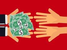 Geef geld vector illustratie