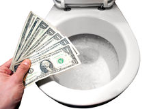Geef het aan het toilet royalty-vrije stock afbeelding