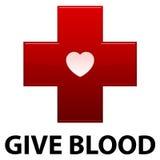 Geef het Rode Kruis van het Bloed Stock Foto's